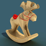 Children`s Rocking Elk. A toy for the fun of a child. Material wood. 3D illustration. Children`s Rocking Elk. A toy for the fun of a child. Material wood. Art stock illustration