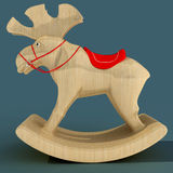 Children`s Rocking Elk. A toy for the fun of a child. Material wood. 3D illustration. Children`s Rocking Elk. A toy for the fun of a child. Material wood. Art vector illustration