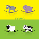 Children`s rocking toy. Cow, hippo, neddy, sheep Stock Image
