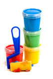 Children's roller and colorful paint bucket Stock Photo