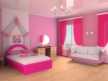 Children's room. Pink children's room with a sofa and a bed Royalty Free Stock Photos