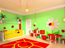 Children's room. Game zone in a children's room 3d image Stock Photo