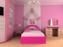 Children's room. Pink children's room with a bed 3d image Stock Image