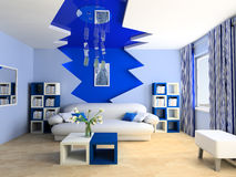 Children's room. Blue children's room with a sofa 3d image Royalty Free Stock Images