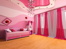 Children's room. Pink children's room with a sofa 3d image Royalty Free Stock Photos