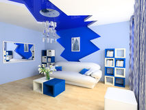Children's room. Blue children's room with a sofa 3d image Royalty Free Stock Photo