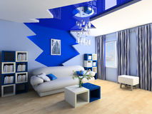 Children's room. Blue children's room with a sofa 3d image Royalty Free Stock Photos