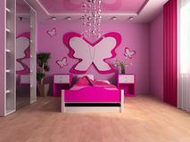 Children's room. Pink children's room with a bed 3d image Royalty Free Stock Photos
