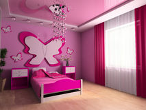 Children's room. Pink children's room with a bed 3d image Stock Photo