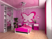 Children's room. Pink children's room with a bed 3d image Royalty Free Stock Photo