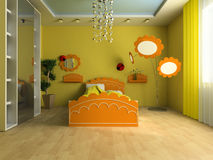 Children's room. Bed in a children's room 3d image Royalty Free Stock Image