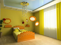 Children's room. Bed in a children's room 3d image Royalty Free Stock Photo