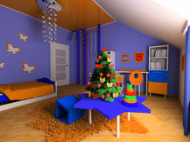 Children's room. New Year tree in a children's room Stock Photos