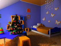 Children's room. New Year tree in a children's room Royalty Free Stock Photography