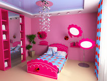 Children's room. Bed in a pink children's room Royalty Free Stock Photography