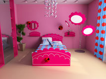 Children's room. Bed in a pink children's room Royalty Free Stock Photo