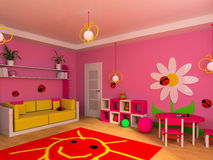 Children's room. Game zone in a children's room 3d image Royalty Free Stock Images