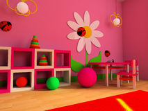 Children's room. Game zone in a children's room 3d image Royalty Free Stock Photos