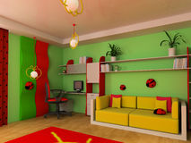 Children's room. Sofa in a children's room 3d image Royalty Free Stock Images