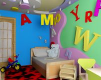 Children's room. Interior of a children's room 3d image Royalty Free Stock Image