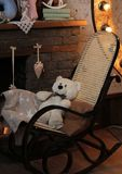 Children`s room. bear cub in the chair close-up stock photo