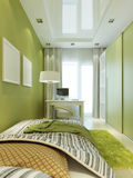 Children's room for the boy in light green colors. Stock Image