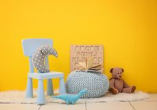 Children`s room with bright color wall. Interior details stock images