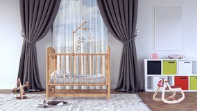 Children`s room with cradle for baby 3d render. 3d illustration Stock Photography
