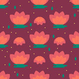 Children's room decoration pattern with chinese lotus flowers Royalty Free Stock Photo