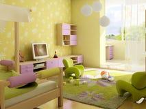 Children's room interior. 3d interior of the children's room stock illustration