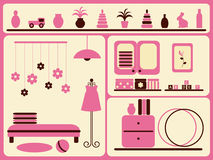 Children's room interior and objects set. Royalty Free Stock Images