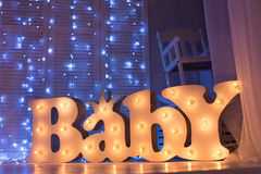 Children's room with lights. Children's room garlands at night Stock Photo