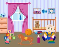 Children's room a little boy Royalty Free Stock Photography