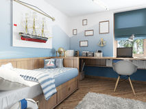 Children's room in the marine style. Royalty Free Stock Photo