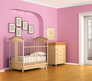 Children's room in red and pink tones with furniture. Royalty Free Stock Photo