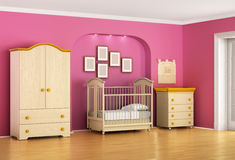 Children's room in red and pink tones with furniture. Stock Photos
