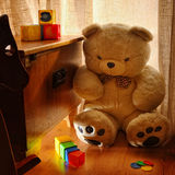 Children's room. With teddy and various games Royalty Free Stock Image