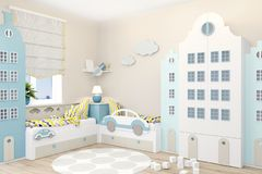 Children`s room for two boys in Scandinavian style. Wardrobe in the form of Amsterdam houses. vector illustration