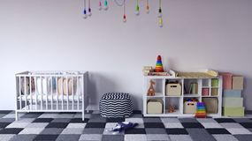 Children`s room with white cradle for baby and shelf with toys Stock Image