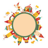 Children's round frame with cute buildings and the fairytale boy Royalty Free Stock Photo