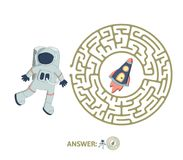 Children`s maze with astronaut and rocket. Puzzle game for kids, vector labyrinth illustration. Children`s round maze with astronaut and rocket. Cute puzzle Stock Photo