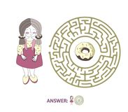 Children`s maze with girl and donut. Puzzle game for kids, vector labyrinth illustration. Children`s round maze with girl and donut. Cute puzzle game for kids Royalty Free Stock Photography