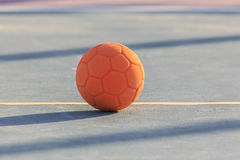 Children`s rubber soccer ball. On the court Stock Images