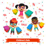 Children's sale. Happy smiling and jumping kids Stock Image