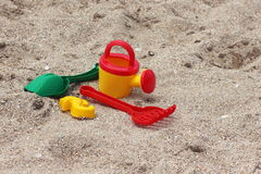 Children's sand toys on the beach. Children's set of toys to play with sand Royalty Free Stock Photos