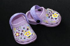 Children's sandals with flowers Royalty Free Stock Photo