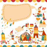 Children's school background with houses and the fairytale boy Stock Image