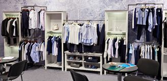 Children school clothing store Stock Images