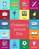Children's School Day. Colorful icons set - EPS Vector Royalty Free Stock Image