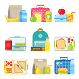 Children`s school lunch box icon in flat style. School lunch boxes set. Children`s lunch bags and trays with hamburgers, soda, frits and other food. Kids school Royalty Free Stock Image